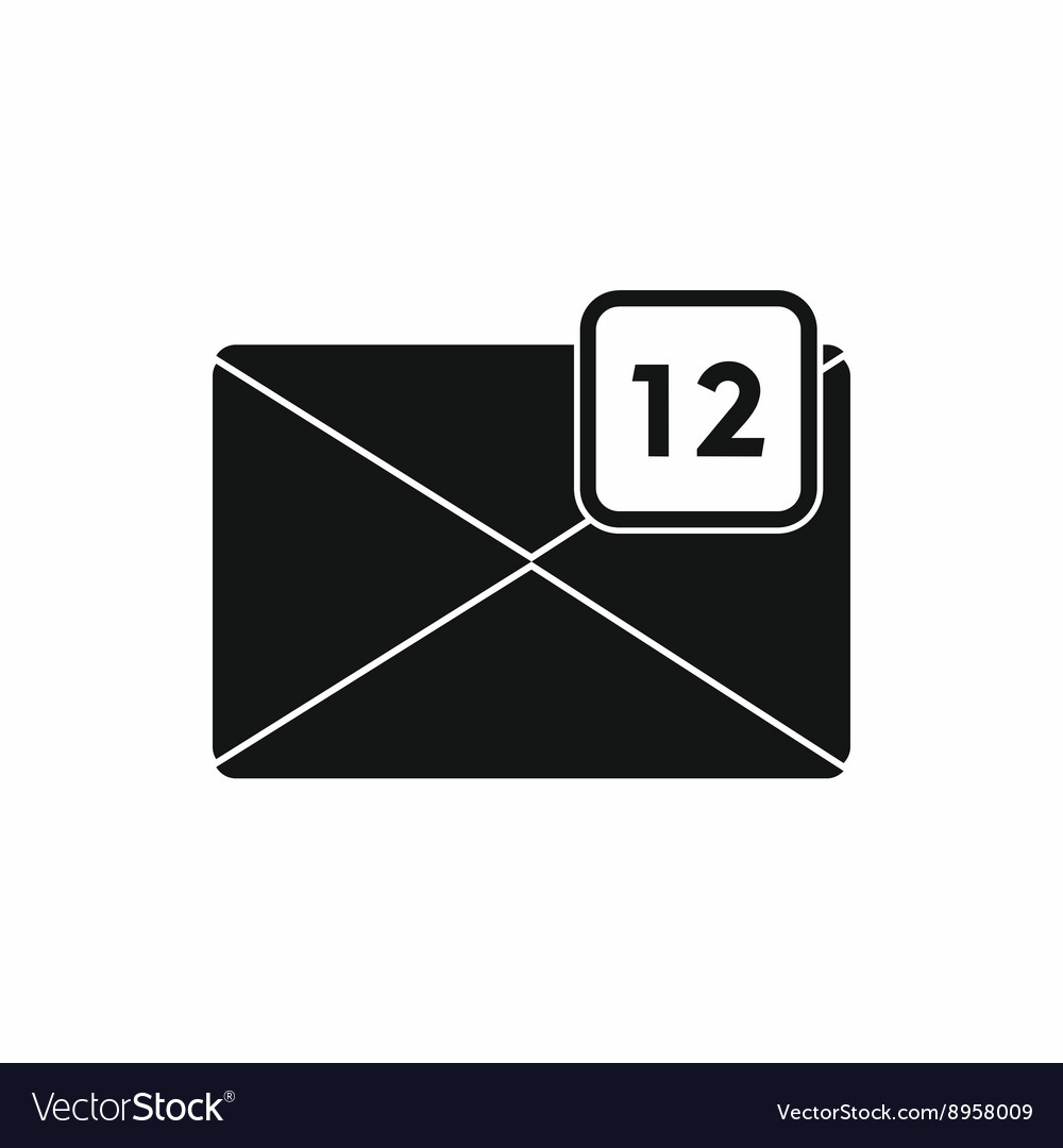Envelope with 12 messages icon simple style