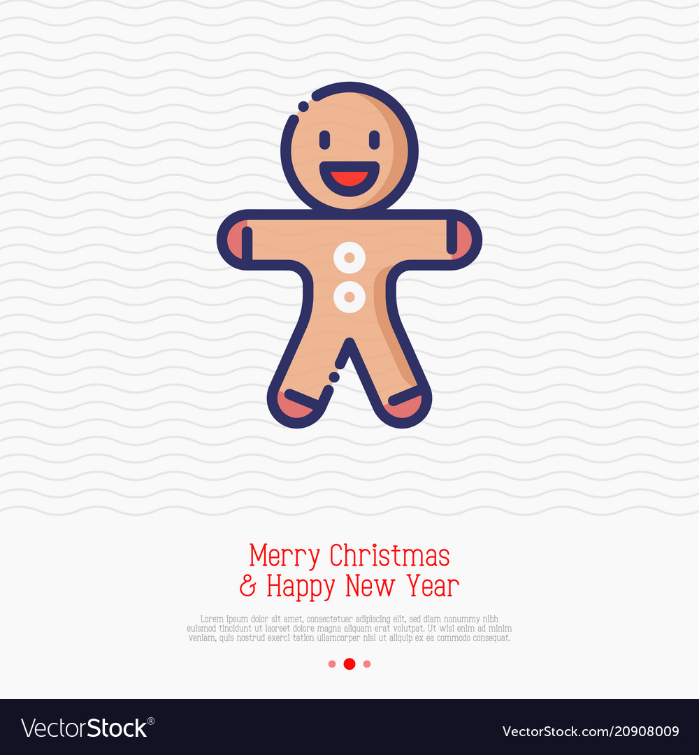 Gingerbread man thin line icon
