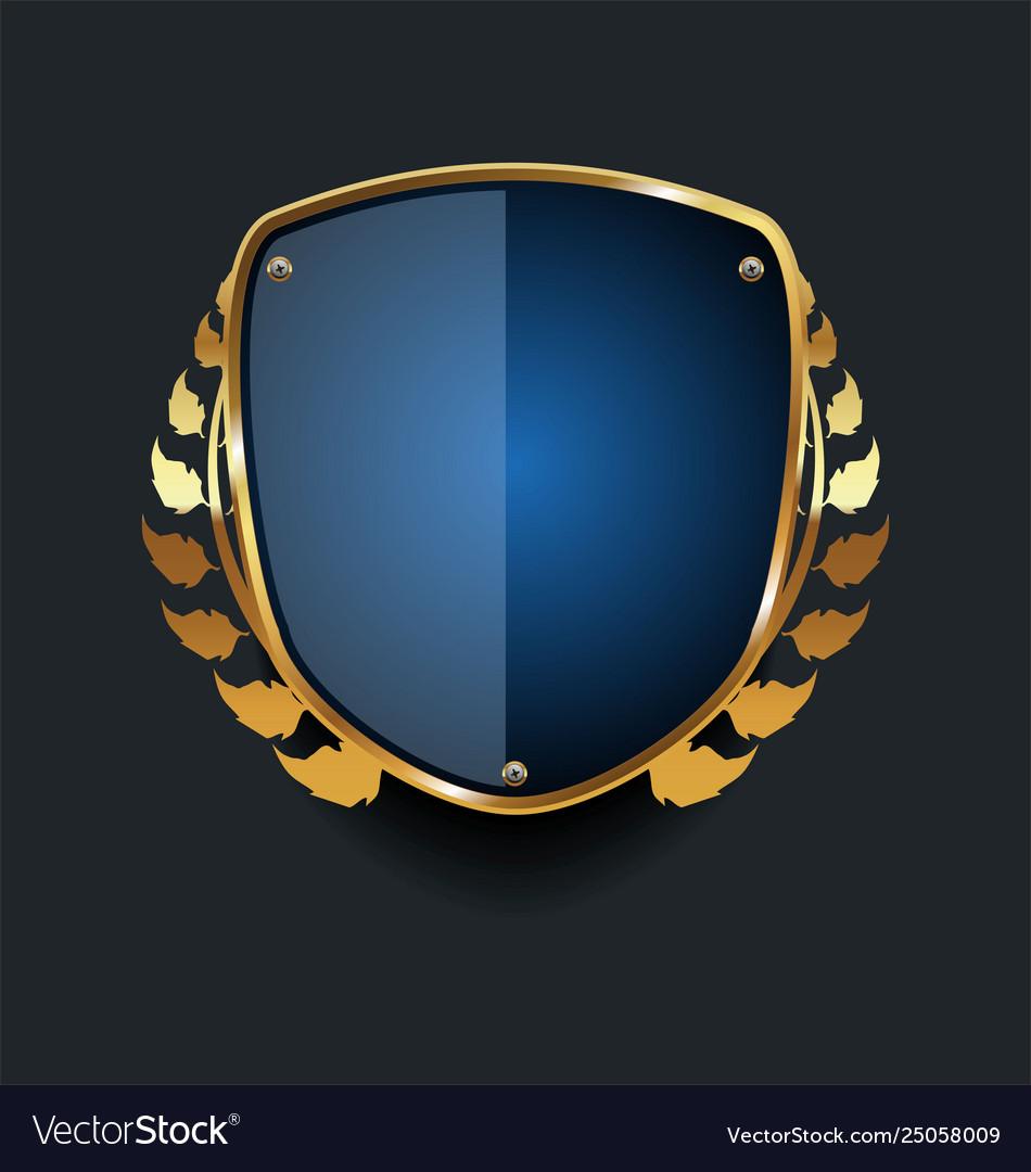 Golden shield and laurel wreath retro design 04