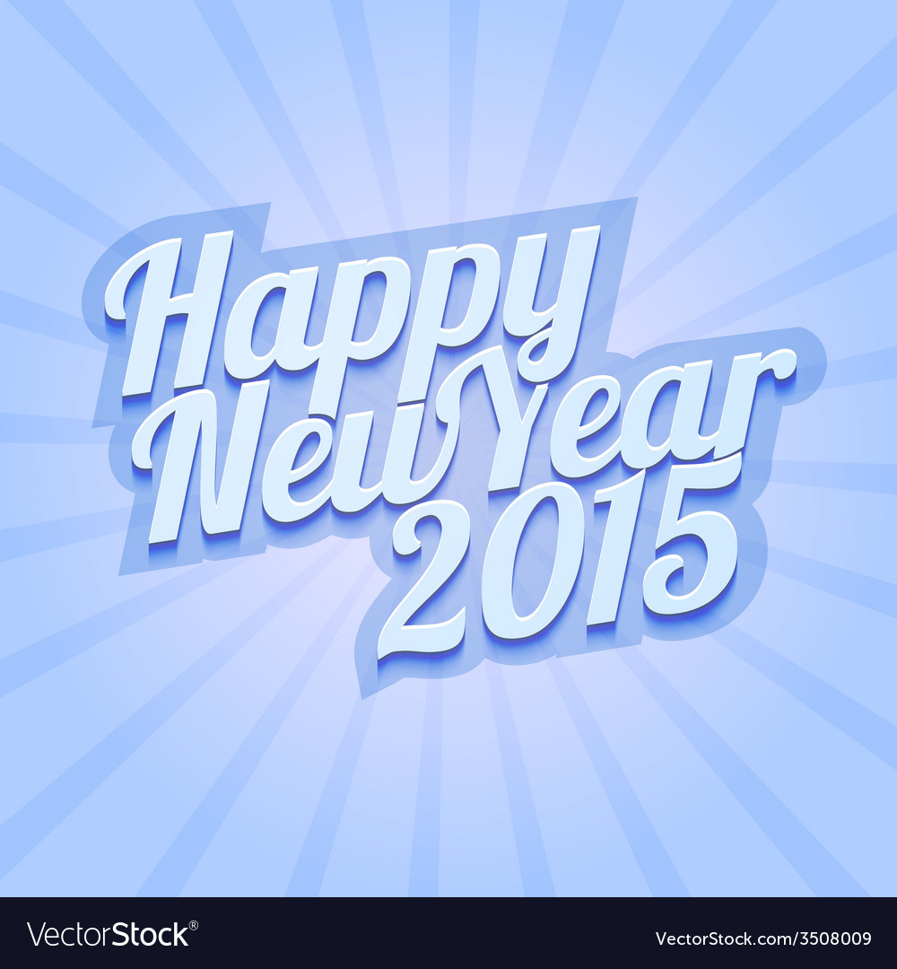 Happy New Year 2015 on blue background