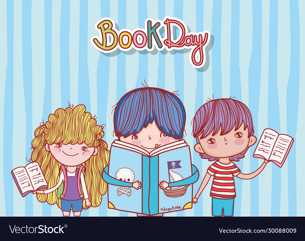 Little boy with book pirates and kids open books
