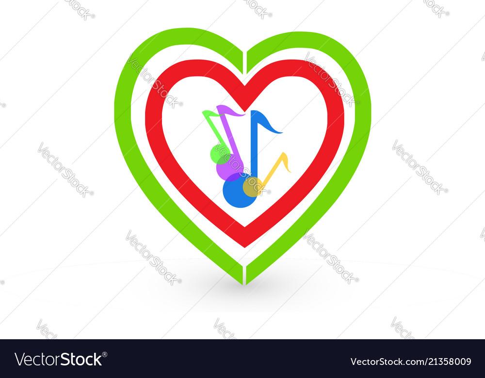 Music notes and hearts logo symbol