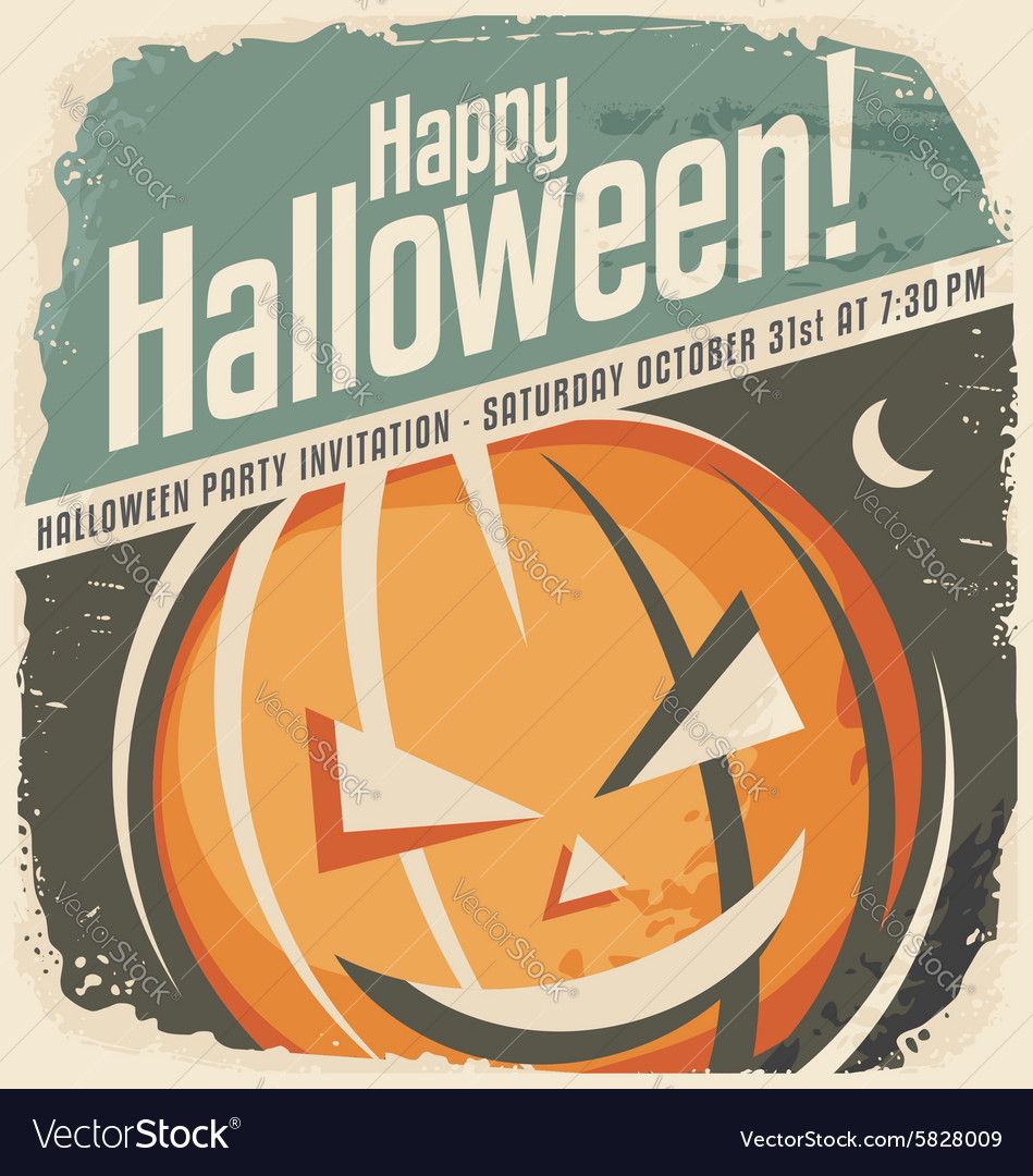 Retro poster template with halloween pumpkin head vector image maxwellsz