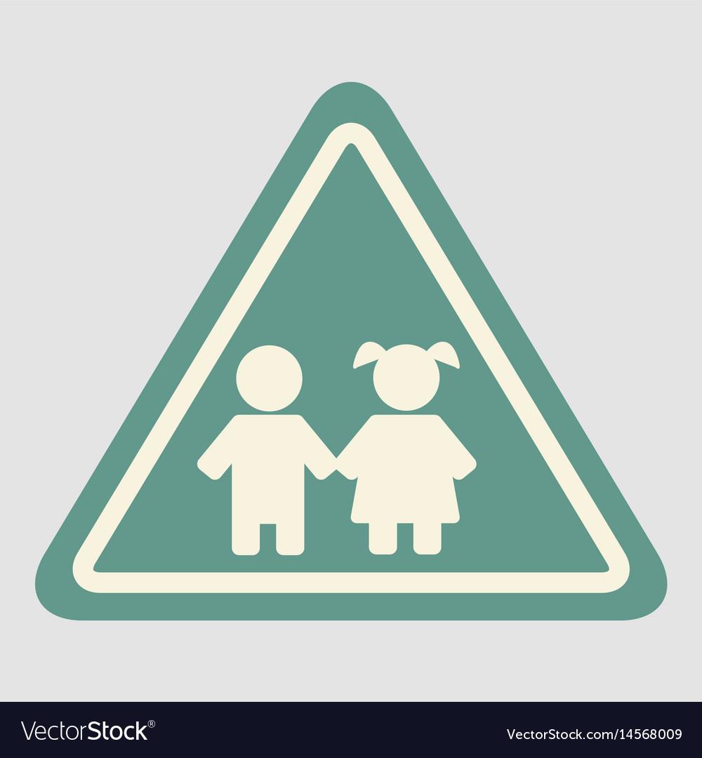 School warning road sign kids road symbol