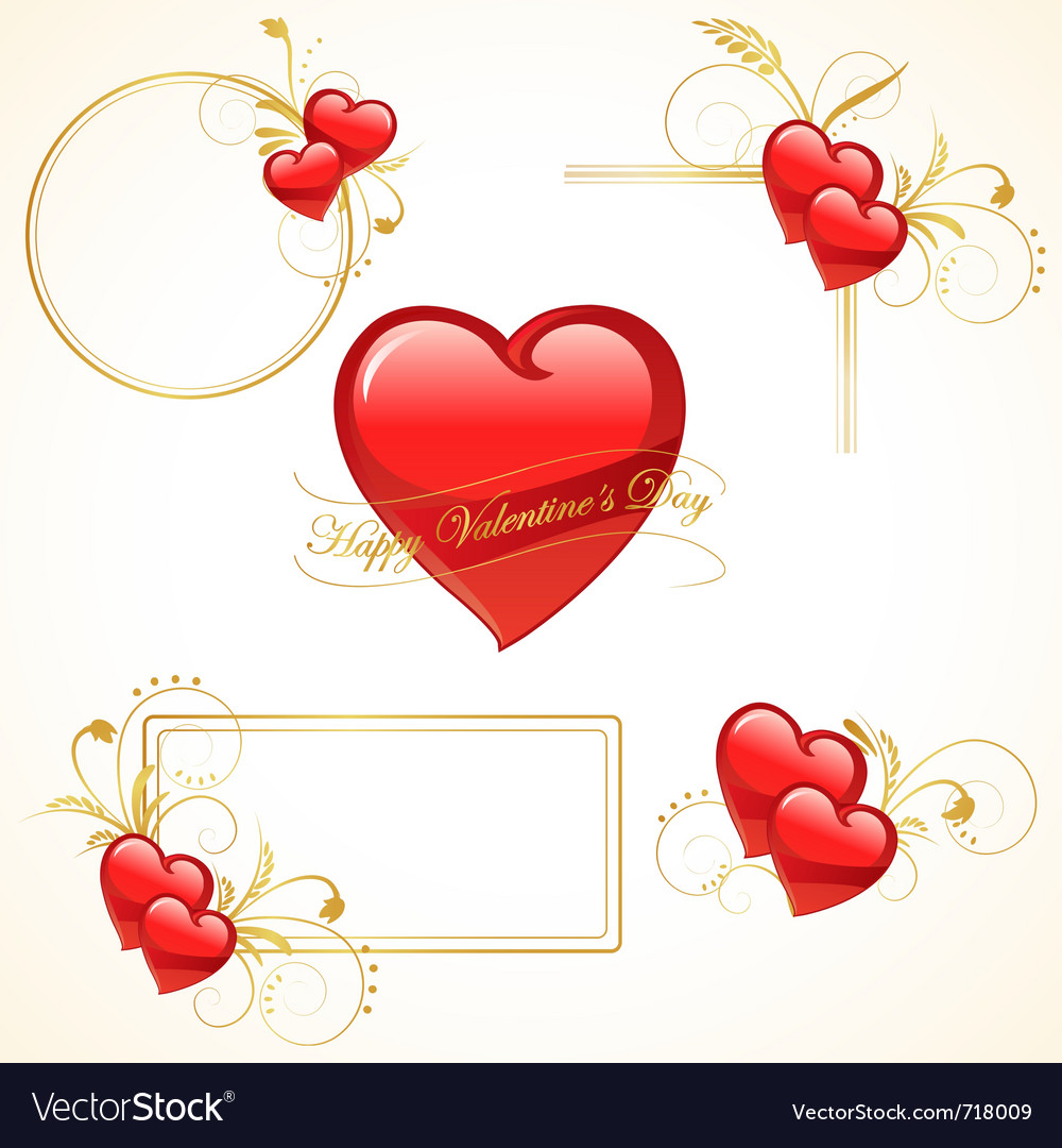 Valentine heart frame Royalty Free Vector Image