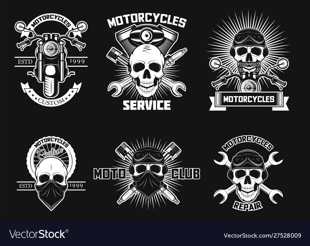 Vintage white moto skull logos labels