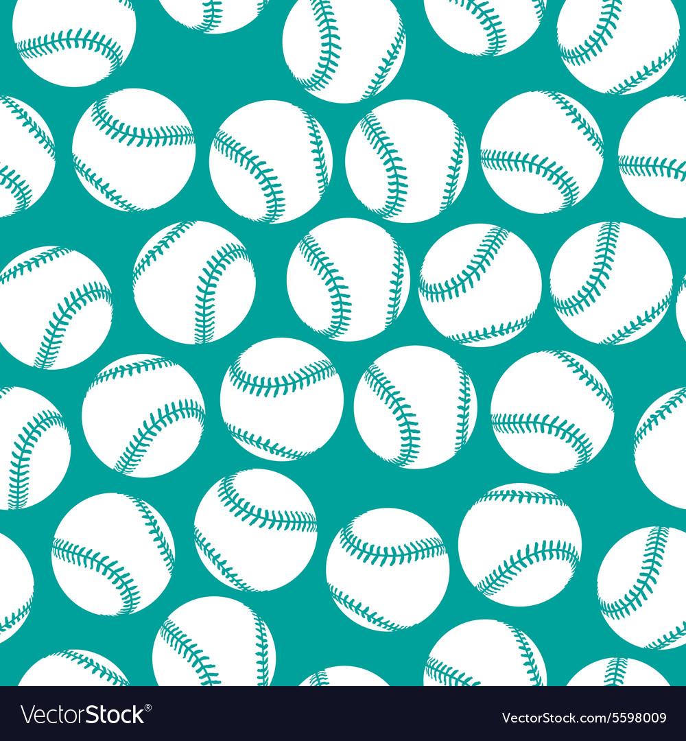 White baseball icons on green background seamless