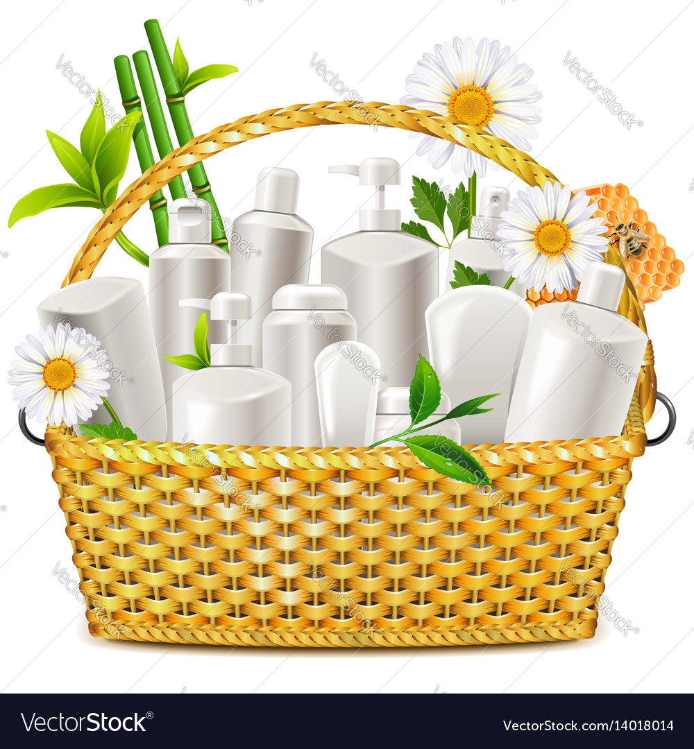 Basket with natural cosmetic