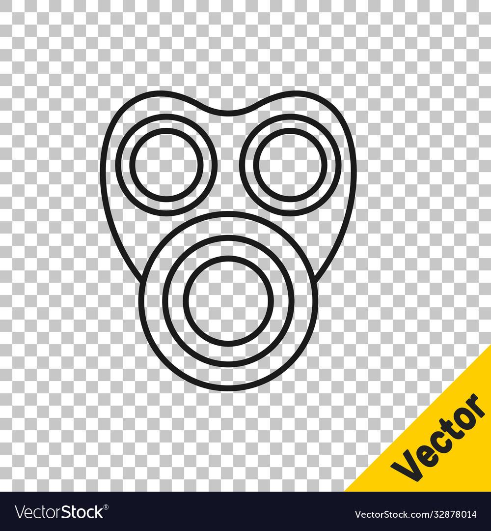 Black line gas mask icon isolated on transparent
