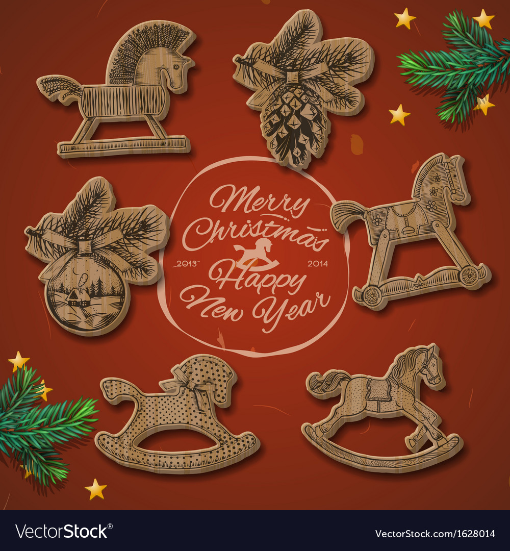 Christmas card with rocking toys horses