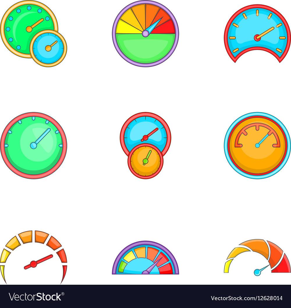 Circular gauge icons set cartoon style