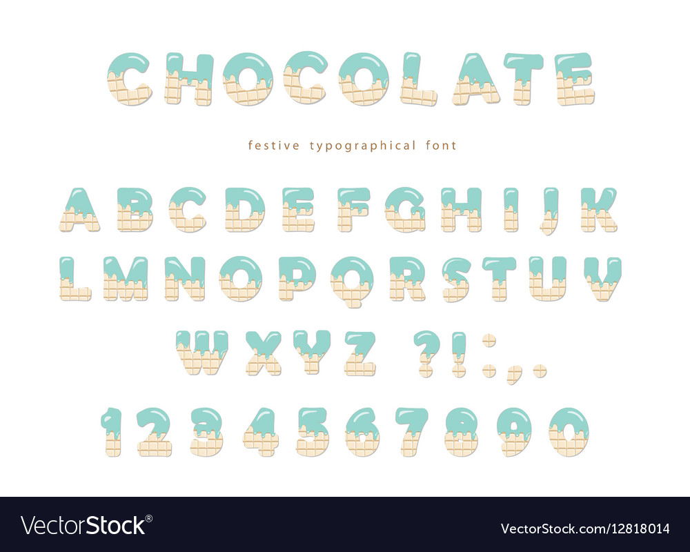 Festive chocolate font Cute letters and numbers vector image