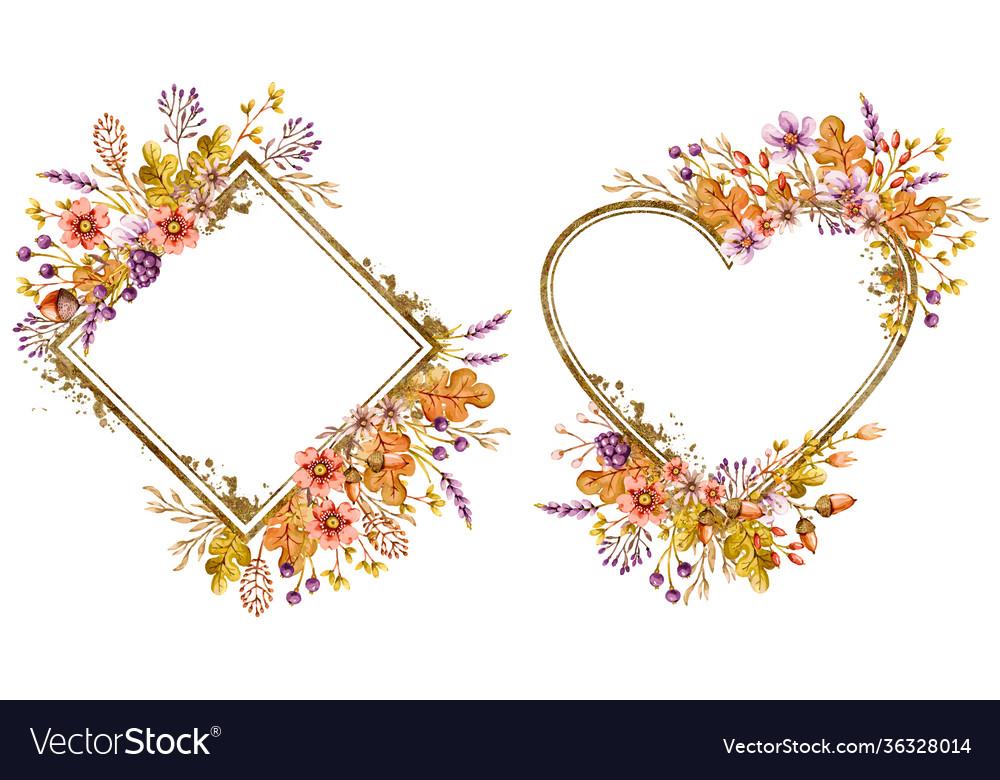 Floral frames set with autumn oak leaves