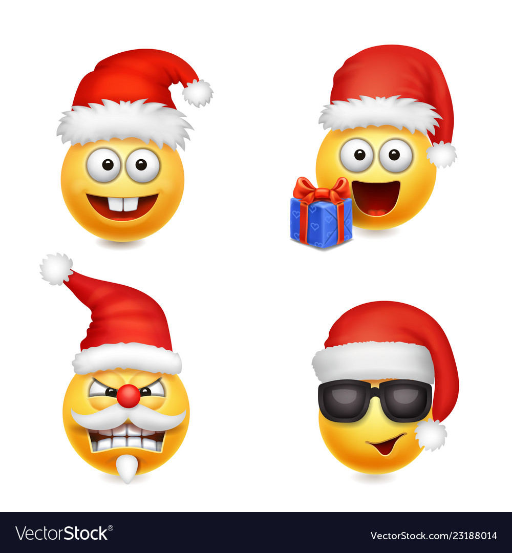 Holiday set of smiley face emoticons christmas