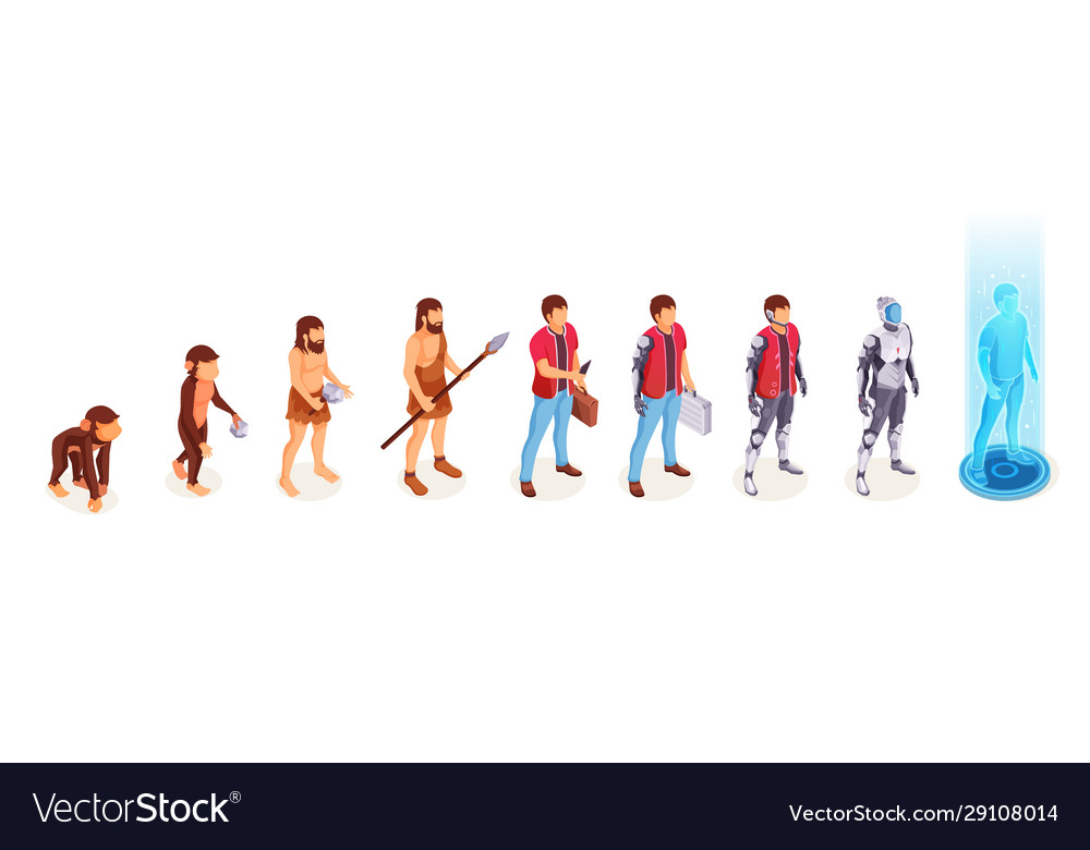 Man evolution apes to digital cyborg technology