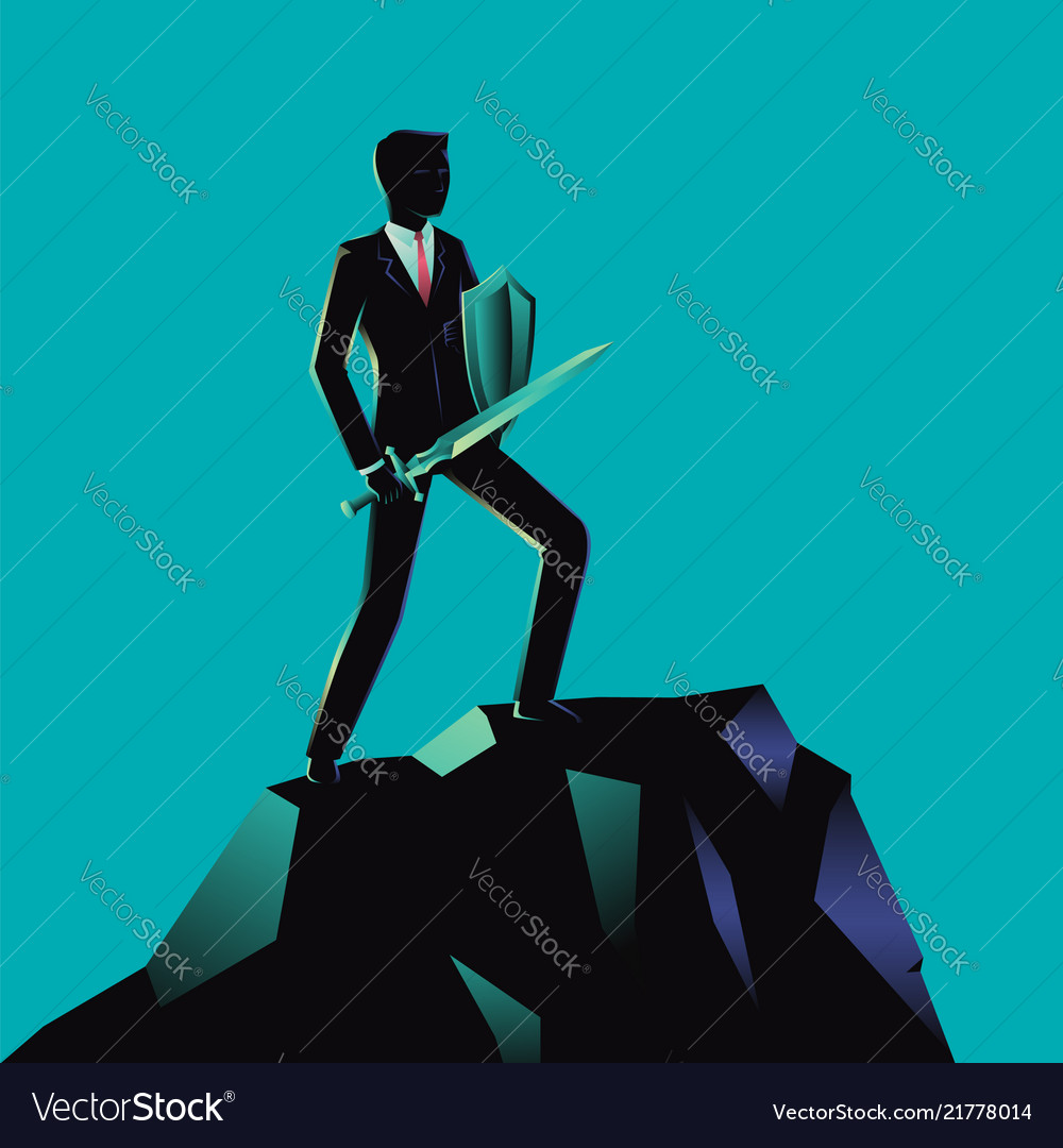 Optimistic businessman holding a sword and shield