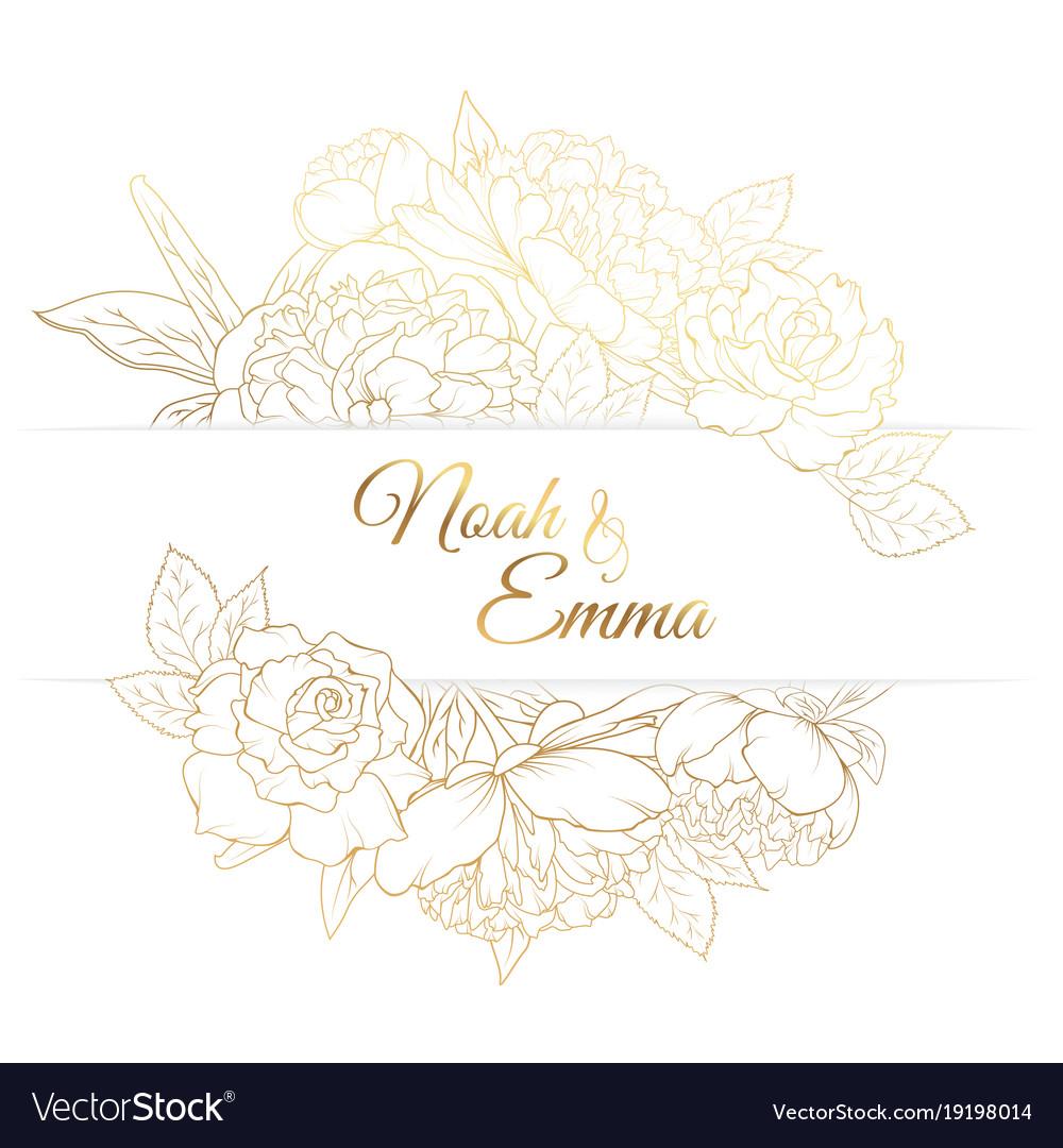 Peony rose flowers frame golden wedding invitation