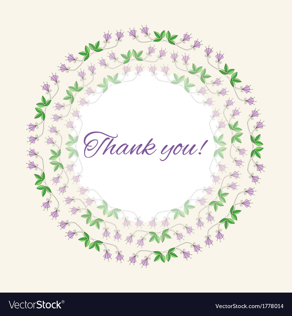 Postcard gratitude with romantic flowers and light vector image