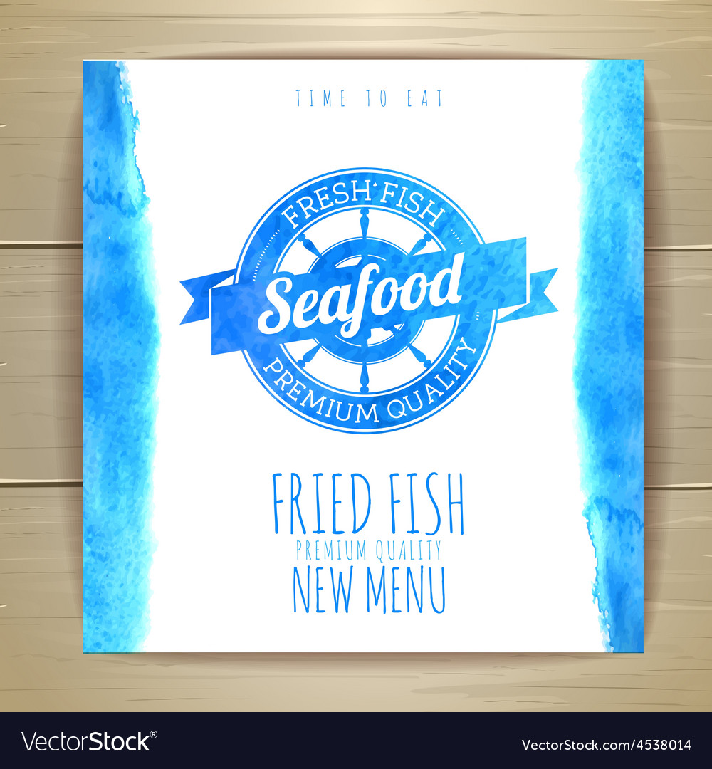 Seafood menu design with fish Document template