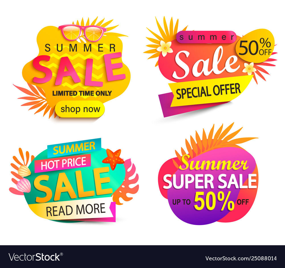 Set summer sale and discount stickers