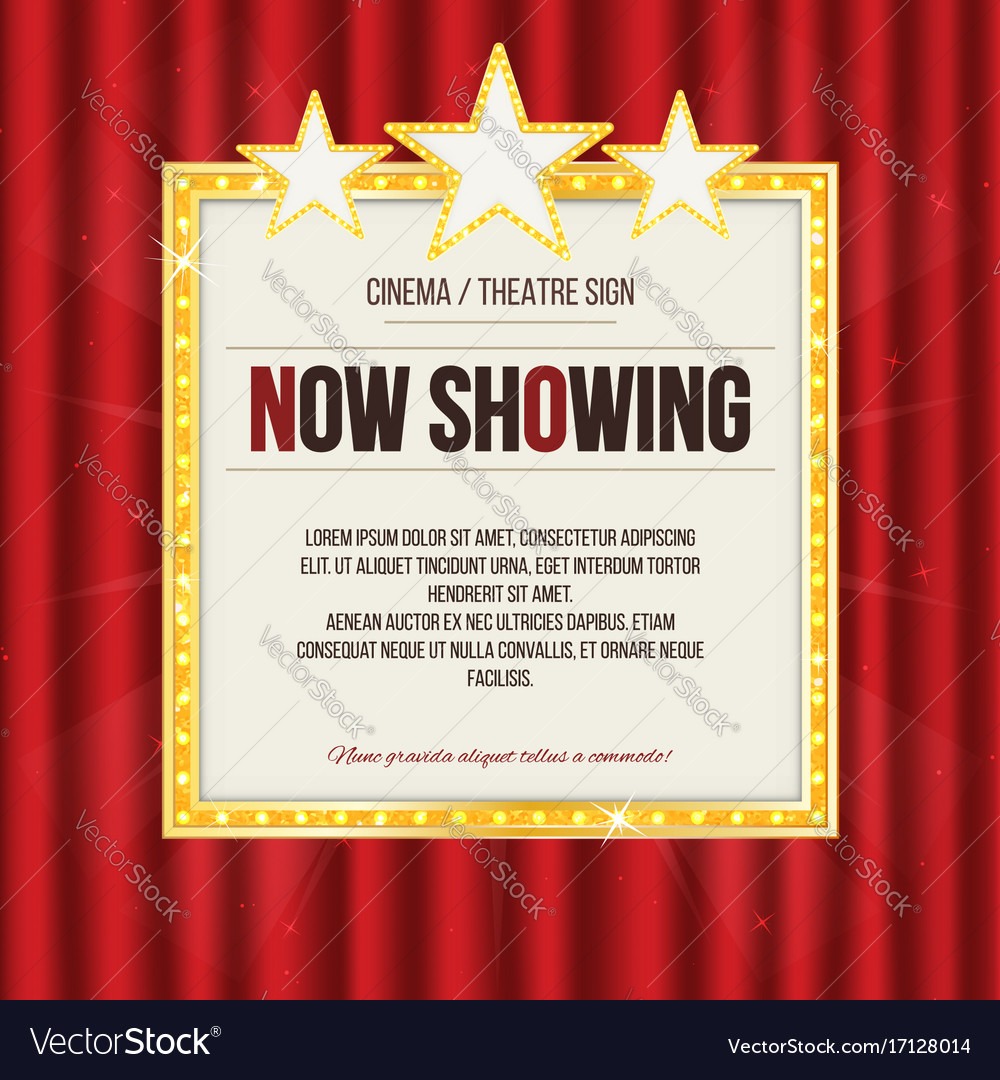 Theater sign or cinema sign with stars on red