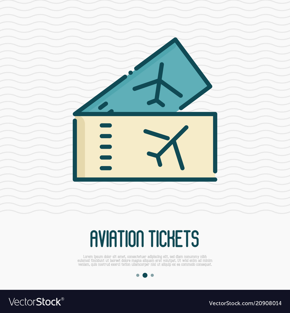 Tickets for plane thin line icon boarding pass