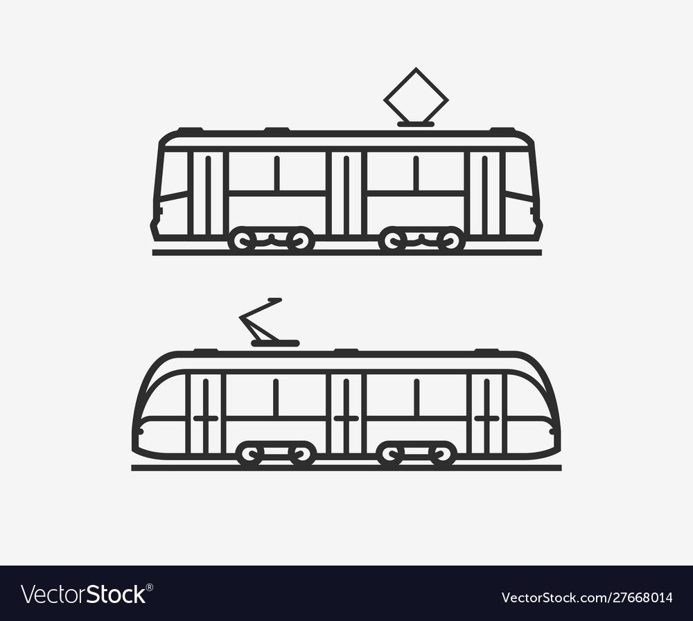 Tram icon city public transport sign or symbol