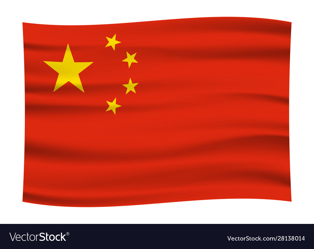 Wave china flag official colors and proportion