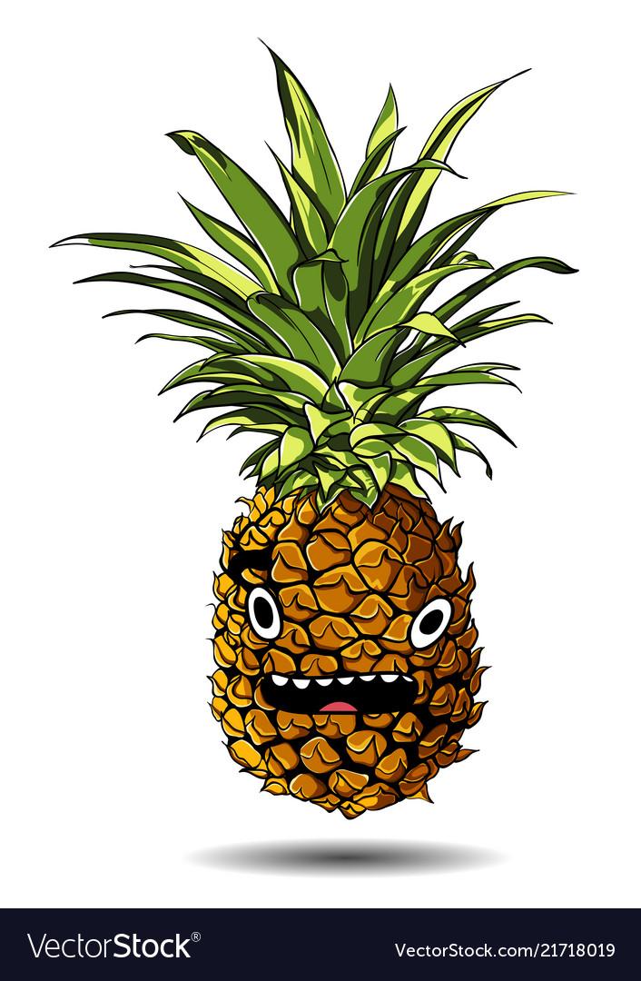 Cute fresh pineapple cartoon character emotion