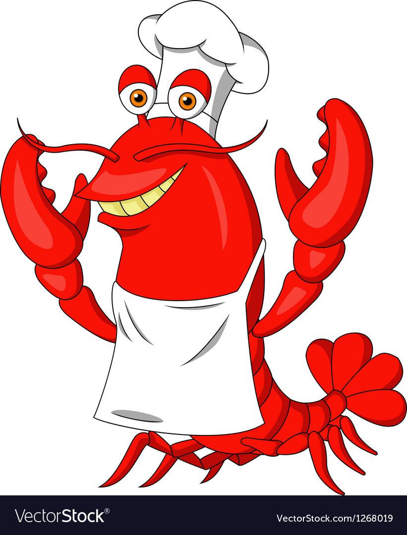 Cute lobster cartoon vector image