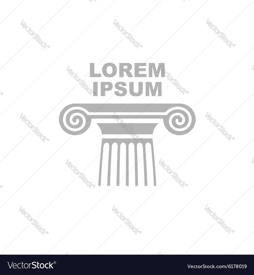 Greek column logo Emblem of ancient capital