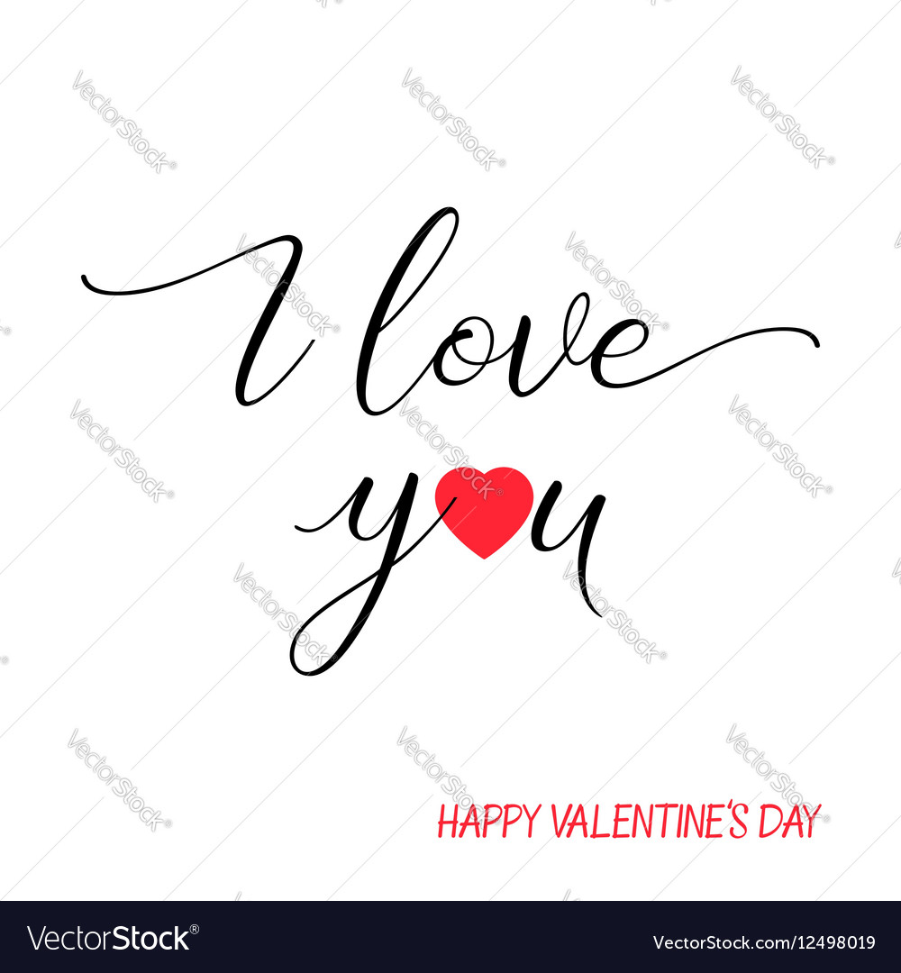 I love you lettering text on white background