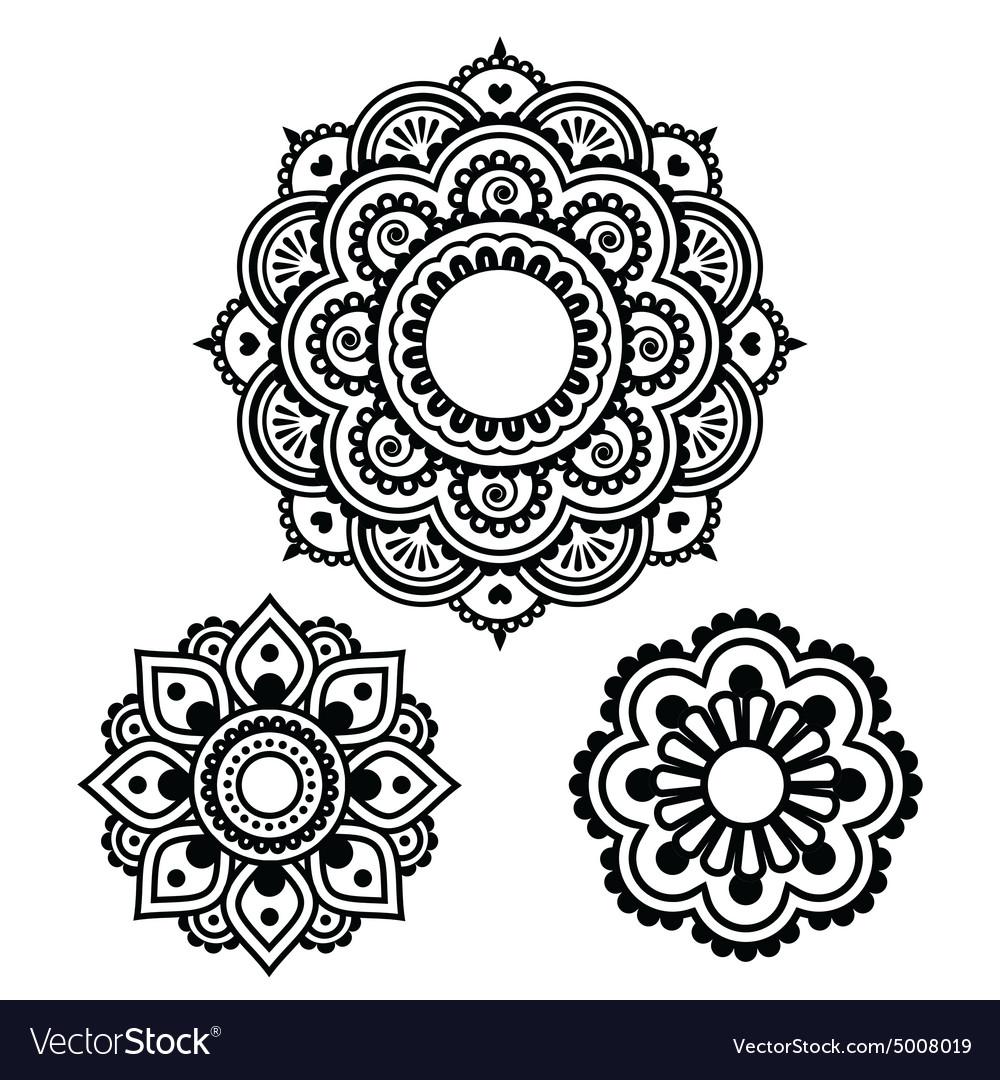 Indian Henna Tattoo Round Design Mehndi Pattern Vector Image