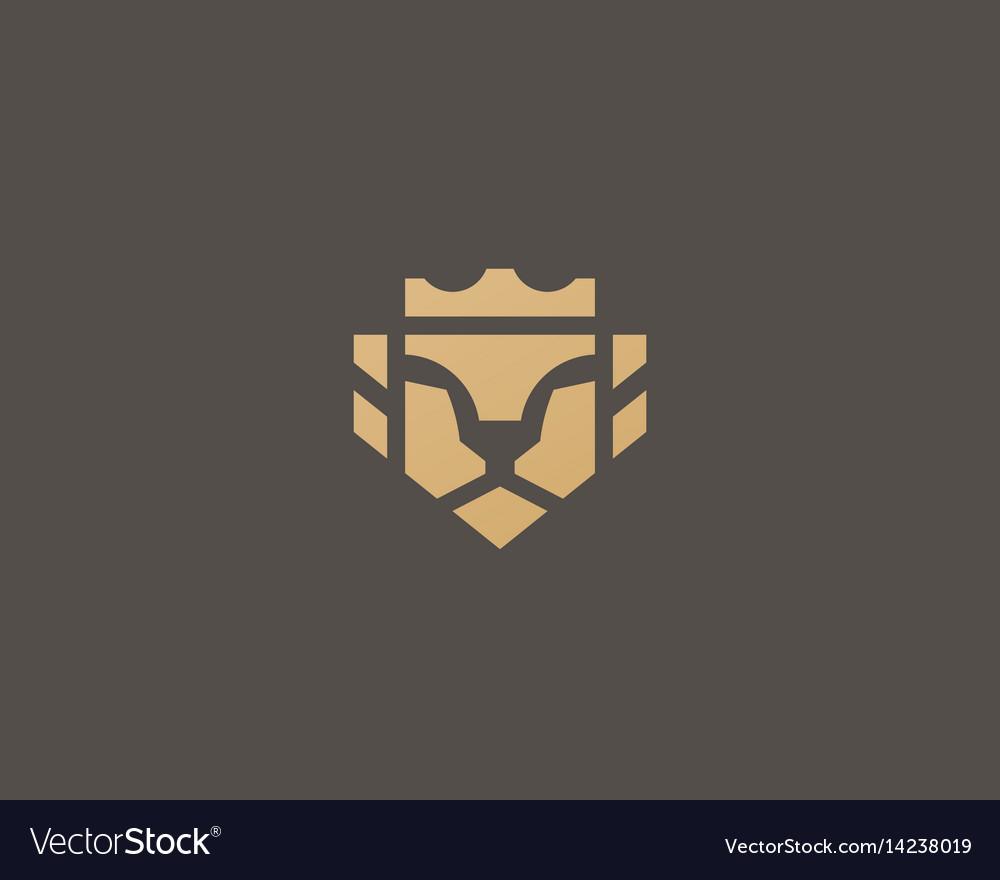 Lion Face Crown Logo Design Universal Premium Vector Image