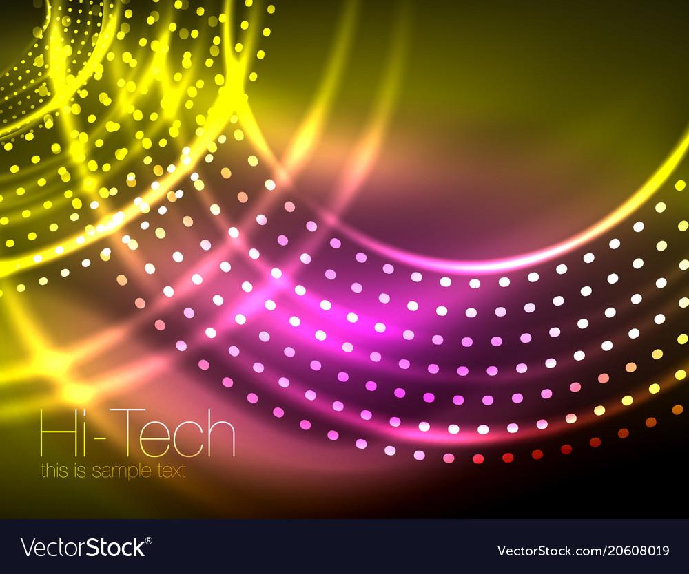 Magic neon circle shape abstract background shiny