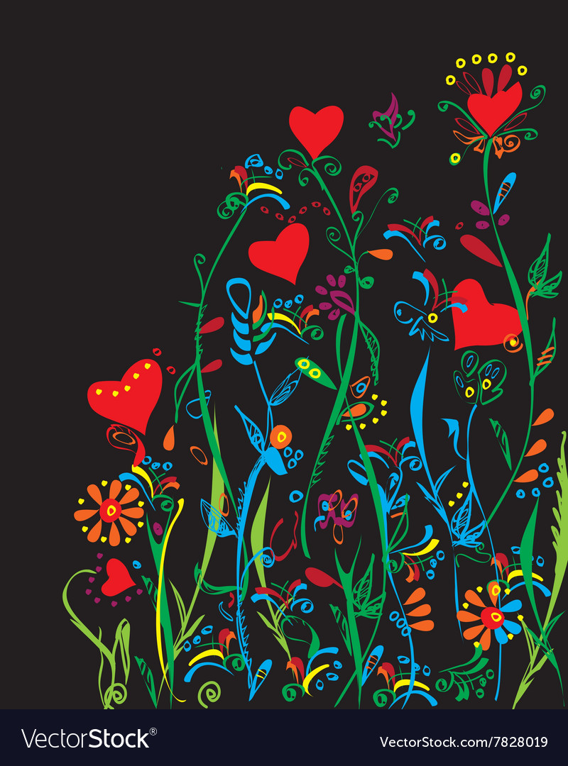 neon flowers and plants royalty free vector image