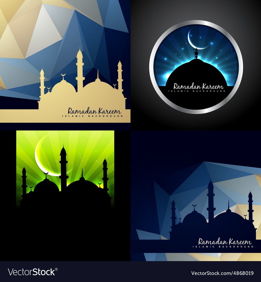 Set of creative background of eid festival of