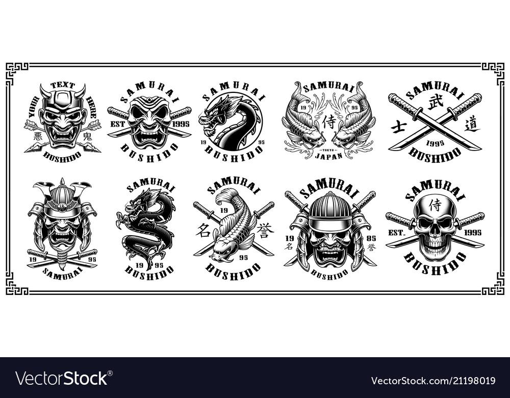 Set samurai emblems for white background