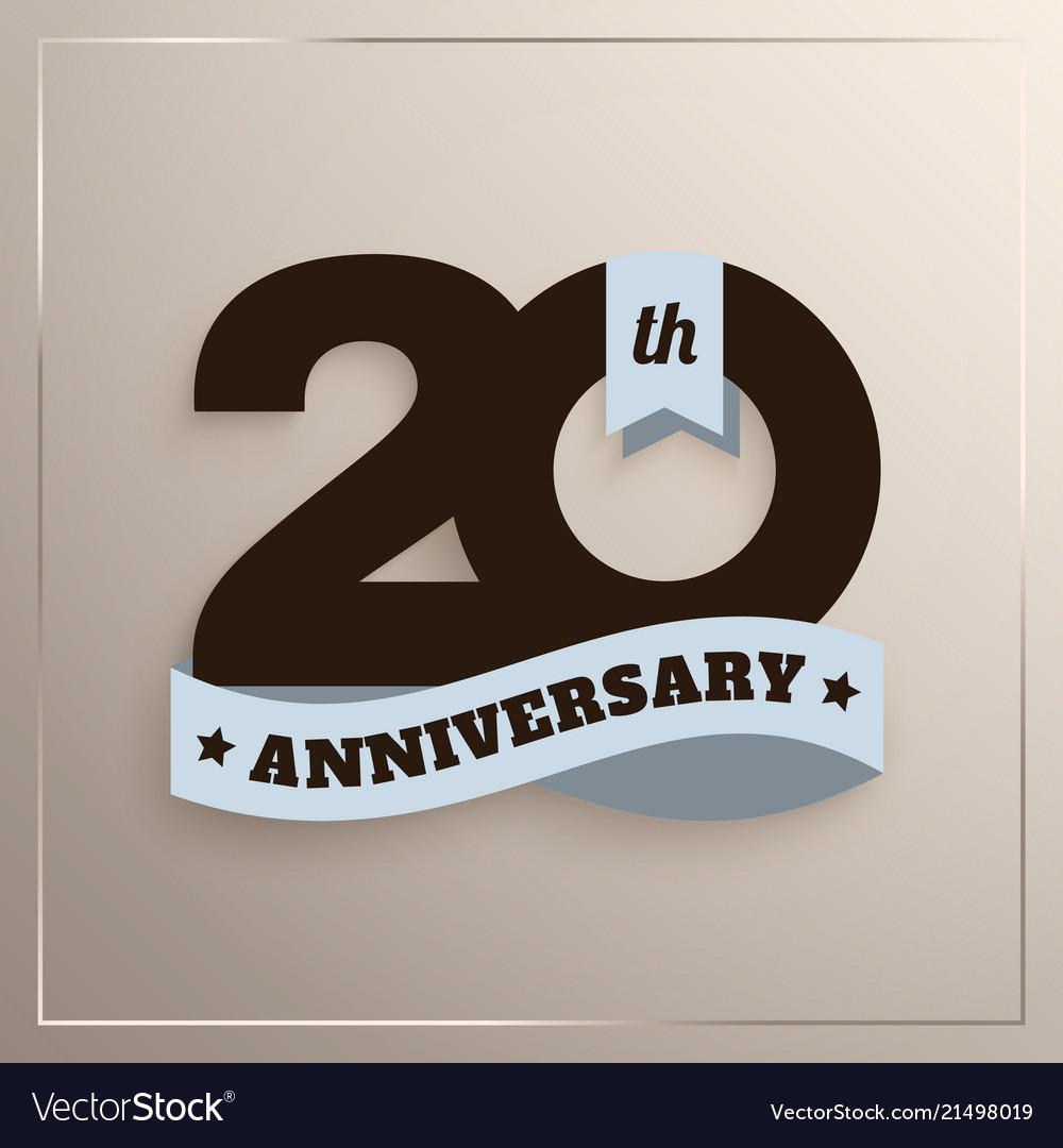 Twenty years anniversary logo with blue ribbon