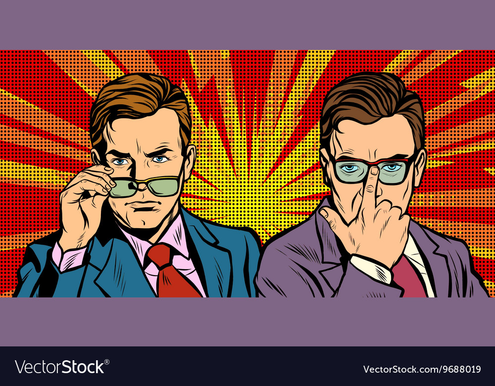 Two men with glasses look simply