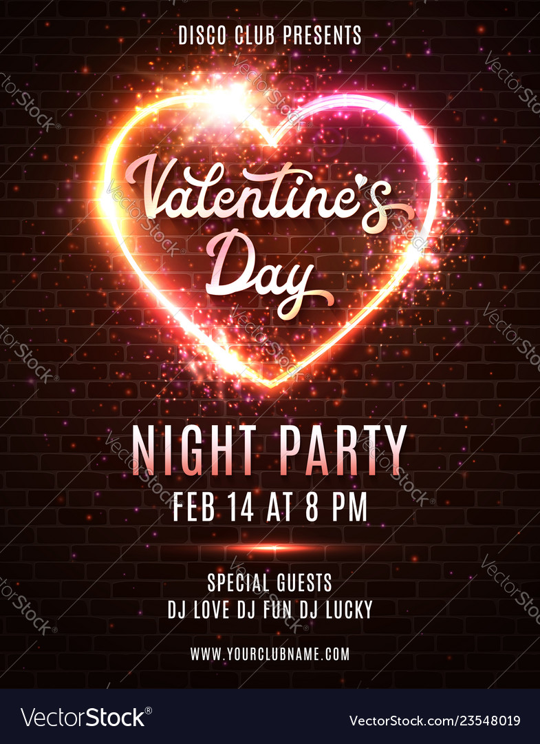 Valentines day party poster template design
