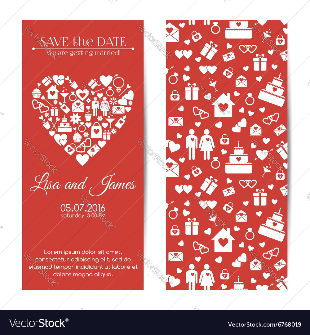 Vertical wedding invitations Royalty Free Vector Image