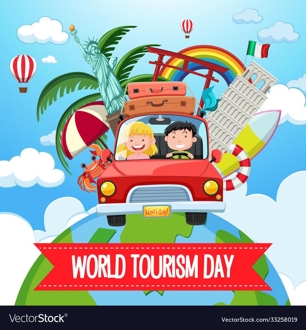 World tourism day logo with couple tourist