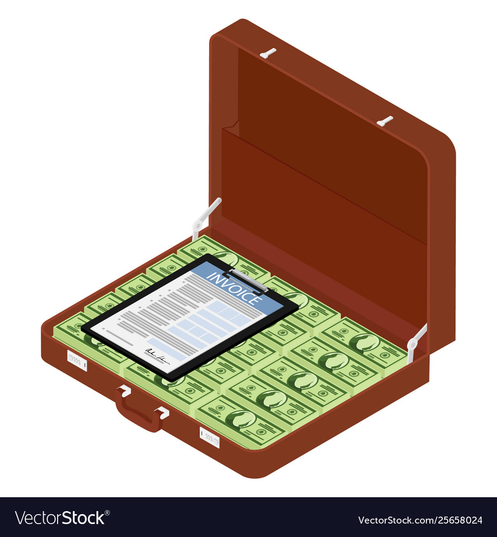 Brown briefcase diplomat with million dollars and