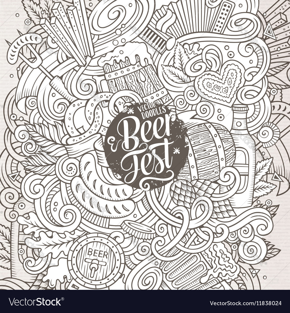 Cartoon cute doodles hand drawn Beer frame design Vector Image