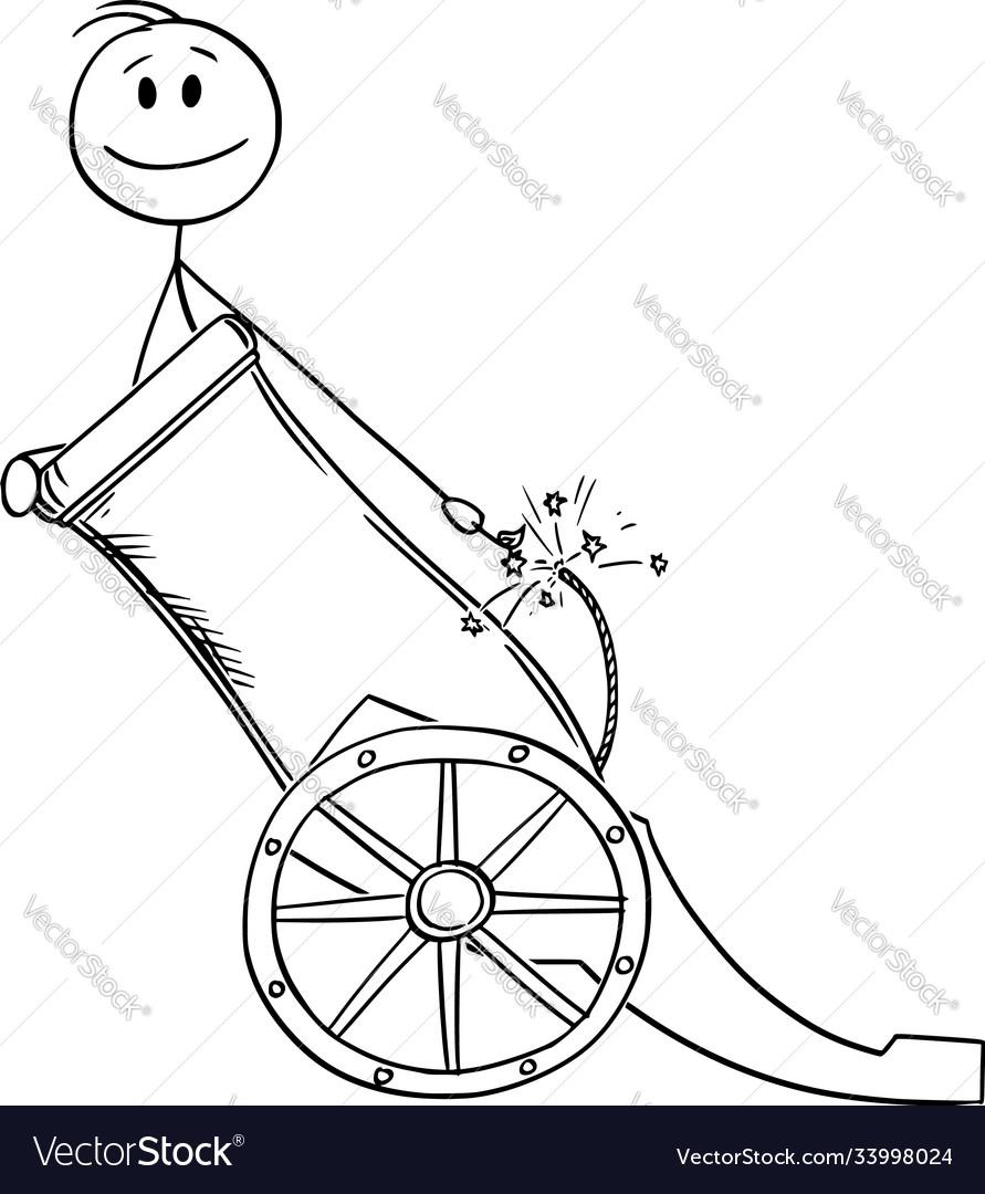 Cartoon happy man or businessman in cannon