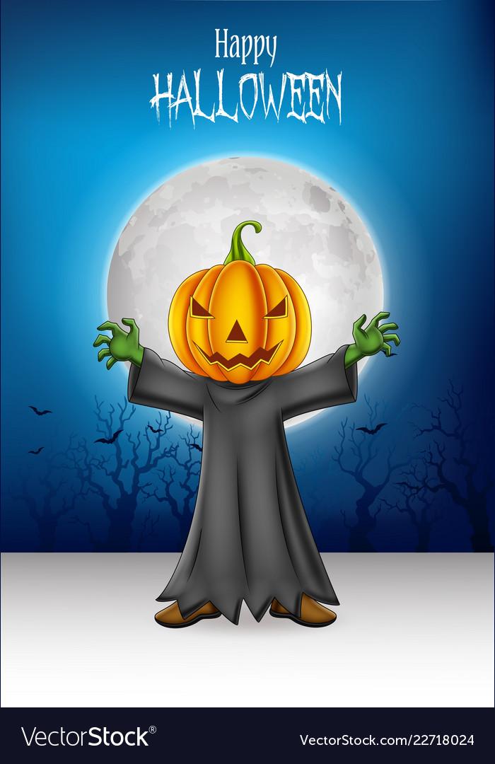 Cartoon kid wearing halloween pumpkin costume with