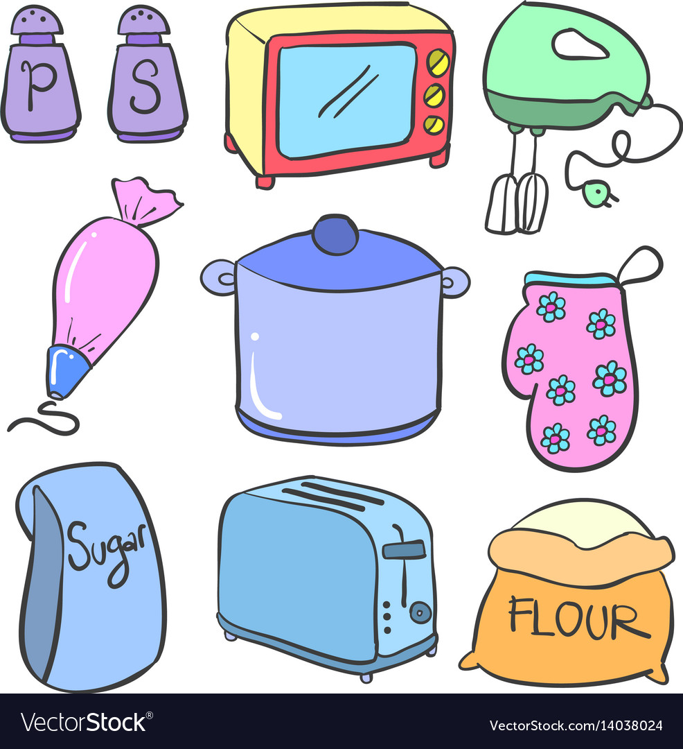 Collection Of Kitchen Set Doodle Colorful Vector Image