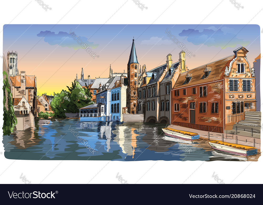 Colorful view on rozenhoedkaai water canal in