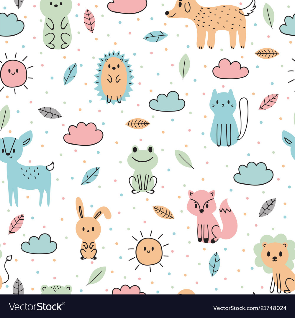 Cute seamless pattern with hand drawn animals